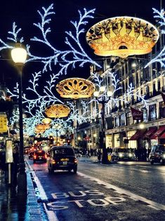 """Street, London, at Christmas; notice the decorations are based on """"The 12 Days of Christmas.""""Regent Street, London, at Christmas; notice the decorations are based on """"The 12 Days of Christmas. Places To Travel, Places To See, Visit Edinburgh, Noel Christmas, Xmas, London Christmas Lights, Christmas Photos, Christmas Nails, Christmas Mantles"""