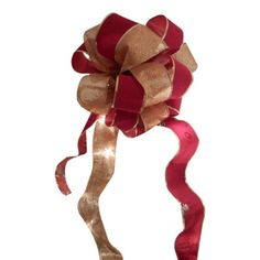 Large Red Velvet and  Gold glitter Ribbons Christmas Tree Topper Bow