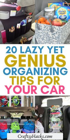 20 Lazy Yet Genius Organizing Tips for Your Car If you're lazy but need your car organized asap, try these organizing tips. These little hacks will help you to keep your car organized and clean. Road Trip Organization, Desk Organization Tips, Organizing Tips, Car Cleaning Hacks, Car Hacks, Car Office, Car Storage, Car Detailing, Lazy