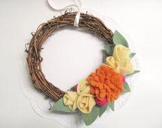 Festa della mamma regalo arancione e giallo feltro fiori ghirlanda primavera decorazione dono per mamma Cottage Shabby Chic casale stile 922
