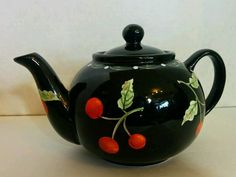 Pottery Black Red Cherry Tea Pot by Laurie Gates <3 I have one like this...