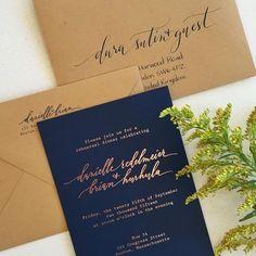 Rose gold foil with navy paper and Kraft envelopes
