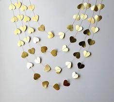 Gold metallic heart garland
