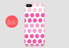 Pink WATERCOLORED POLKA DOTS - iPhone 4, iPhone 4s, iPhone 5, iPhone 5s, iPhone 5c Case