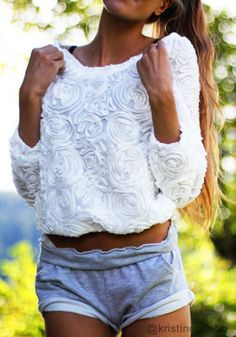3D Rose Top - White from @LookBookStore