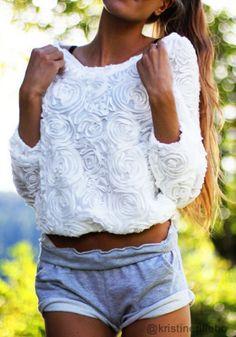 3D Rose Top - White