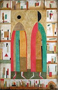 Boris y Gleb, por Andrei Kolkutin, 2005. Óleo sobre lienzo.  Suprematismo y el icono chocan.  Un comentario posmoderna en la cooptación del icono por el Modernismo.