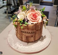 Beautiful Floral Birthday Cake by Create A Cake. Rustic Driftwood Mould - Karen Davies Sugarcraft.