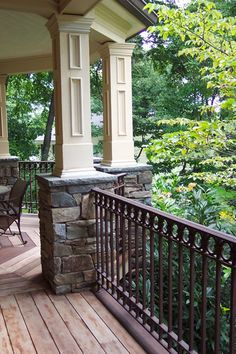 Getting back porch ideas is easy to come by if you look in the right spot. See our back porch ideas work and let us help you with your next porch project. Front Porch Railings, Porch Columns, Balcony Railing, Iron Railings, Iron Balcony, Porch Roof, Deck Railings, Stair Railing, Porche Frontal