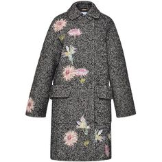 Blumarine Embroidered Herringbone Coat (€1.730) ❤ liked on Polyvore featuring outerwear, coats, coats & jackets, embroidered coat, grey coat, grey double breasted coat, grey oversized coat and floral print coat