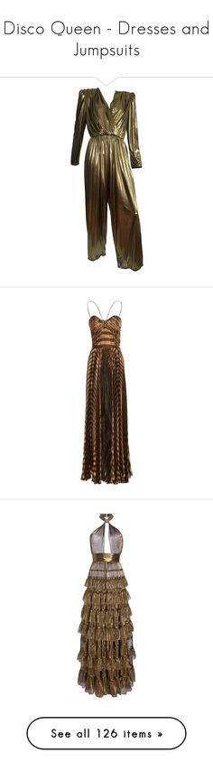 """Disco Queen - Dresses and Jumpsuits"" by metalheavy ❤ liked on Polyvore featuring multiple, dresses, maxi dress, gowns, metallic, chiffon dresses, halter top maxi dress, brown dresses, spaghetti-strap maxi dresses and chiffon halter dress"