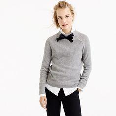 Inspired by a vintage sweater that our head stylist, Gayle, rediscovered in the back of her closet, this boy-meets-girl style is both polished and cozy. Detail we love: the grosgrain ribbon tie in the front. <ul><li>Relaxed fit.</li><li>Hits slightly below hip.</li><li>Wool/nylon/viscose.</li><li>Long sleeves.</li><li>Rib trim at cuffs.</li><li>Dry clean.</li><li>Import.</li></ul>