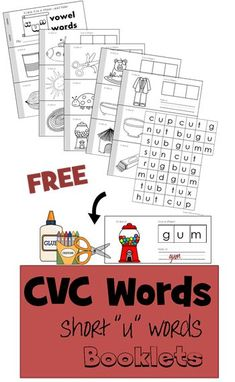 FREE CVC Words Booklet - short u vowel - These free printable cut and paste booklets are perfect for early readers to practice sounding out words, reading, writing and more - preschool, prek, kindergarten, and first grade learning activity. These are great for summer learning, homeschooling, centers and more.