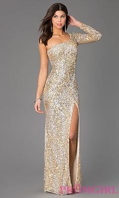 Floor Length Sequin One Sleeve Dress by Primavera at PromGirl.com