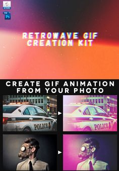 Retrowave #gif #creation kit #photoshop #action