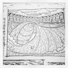 Langland bay huts. Pen & ink by Huw Williams