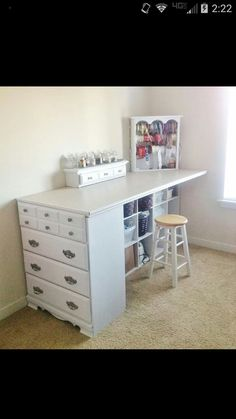 Craft room table and storage