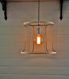 Industrial Hanging Light  Vintage Wire Lampshade by KnickofTime