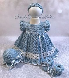 Baby and Toddler Girl's Blue Dress with Matching Easter Bonnet - Newborn to 12 Months - Coming Home - Baptism - Special Occasion Baby and Toddler Girl's Blue Dress with Matching Easter Crochet Baby Dress Pattern, Crochet Baby Bonnet, Baby Girl Dress Patterns, Knit Baby Dress, Baby Girl Crochet, Baby Patterns, Crochet Patterns, Baby Girl White Dress, Girls Blue Dress