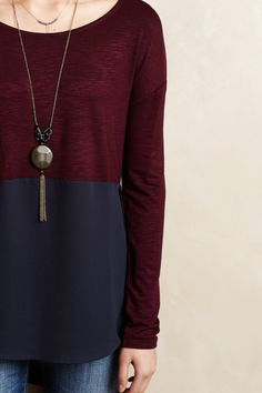 Stone Medallion Pendant and Mela Colorblocked Top - anthropologie.com