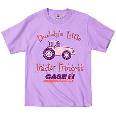Girls Tractor Princess Tee | ShopCaseIH.com. She's not just your little princess. She's Daddy's Little Tractor Princess. And this adorable pink tee just proves it. Lightweight 100% cotton preshrunk tee features center-front graphics with a pink Case IH tractor, pink writing and the Case IH logo. Top-stitched ribbed crewneck collar, double-needle stitching at sleeves and lower edge. Available in toddlers' sizes.