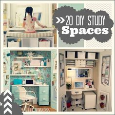 Great ideas on how to make small DIY study spaces and homework nooks!