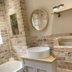 Here's What I Know About Faux Brick Wall Bathroom decoryourhomes com is part of Oak shelves - Downstairs Bathroom, Small Bathroom, Brick Bathroom, Oak Bathroom, Ideas Baños, Faux Brick Walls, Oak Shelves, Bathroom Cleaning, Beautiful Bathrooms