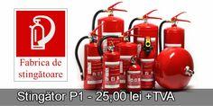 Stingatoare de incendiu cu livrare în București: Stingator P1 25 lei + tva, Stingator P3 50,00 lei + tva, Stingator tip P6 60,00 lei + tva