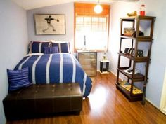 You might get an industrial type shelf, like the one on the right - to put your things on it.... match color to bedding.