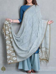 Buy Indigo Kashish Printed Cotton Dupatta by Jaypore Accessories Dupattas Consonance Hand Block Tussar & Online at Jaypore.com