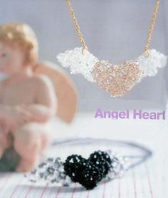 сердце из бисера и бусин с крыльями, схема