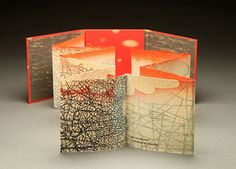 Fractured Terrain bookwork: line etching, polymer, mokuhanga woodcut, letterpress / 6 x 5.75 inches folded, opens to 6 x 62 in. / $800