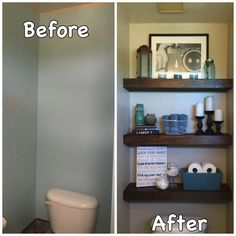Half Bathroom Ideas diy faux floating shelves | shelves, house and bath