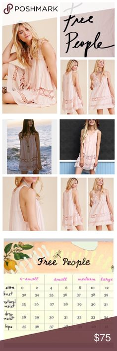"""🆕Free People FP One Costa Brava Mini Dress NWOT. 🆕Free People FP One Costa Brava Mini Dress, 100% cotton, washable, 22"""" armpit to armpit (44"""" all around), 32"""" length, 14"""" arm hole, slouchy, oversized shapeless fit with crochet trim, sleeveless, raw edges, V neckline with hidden hook and eye closures, detachable slip lining with adjustable straps, lightweight gauzy fabric, peach color, measurements are approx.  New without tag, never worn. NO TRADES Free People Dresses Mini"""