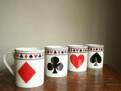poker game coffee mugs set by cristinasroom on Etsy, $21,00