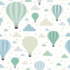 Seamless pattern with cute air balloons and clouds. Air Balloon, Balloons, Pattern Illustration, Baby Prints, Free Vector Art, Peel And Stick Wallpaper, Pattern Wallpaper, Doodle Art, Scrapbooking
