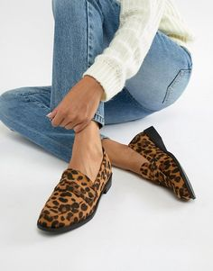 Shop Glamorous leopard print flat loafers at ASOS. Leopard Loafers Outfit, Leopard Print Loafers, Ballerine Leopard, Comfy Shoes, Comfortable Shoes, Ladies Shoes, Girls Shoes, Ladies Loafers, Loafers Women