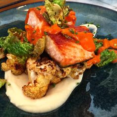 CHARISSE KC -  Salmon with Roasted Cauliflower, Parsnip Purée, Roasted Red Pepper Coulis, and crispy Brussels Sprouts #nomnom