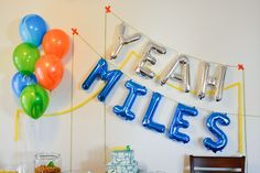 very awesome mini mylar balloon letter garland via cupcakes + cutlery!