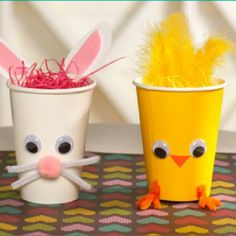 Sandra @ ribbonsandfavors.com Easter DIY that makes you smile. Simple supplies using paper cups.