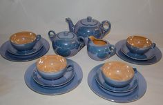 Pristinely Perfect Lusterware Teaset Periwinkle and Peach. $140.00, via Etsy.