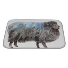 Gear New Animals Watercolor of a Sheep Bath Mat/Rug Size: