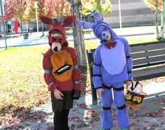 Foxy and Bonnie DIY Halloween Costumes. #FNAF