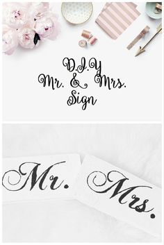 We are in love with the new trend of Mr. and Mrs. signs. Whether you use them as a photo prop, head table decor or hang them off of the back of the bride and groom's chair, these awesome signs are a great idea. This tutorial is super easy and inexpensive which is so great because on Etsy these signs can start costing you $40.00 and up. This D.I.Y. tutorial is also good for making any other type of wedding signage.
