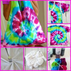 Tulip One-Step Mini Tie Dye Kit & child's medium shirt.To make a spiral a fork is a handy tool.  Place fork in center of shirt. Press down firmly and twist .Tightly wrap rubber bands around the shirt.Place dye in each section between the rubber bands. Make sure to really saturate the fabric. Allow to sit for about six hour. Carefully fold the shirt in half. Cut around the neck and sleeves.Turn shirt inside out and sew across the bottom of the shirt.Turn the shirt right side out .