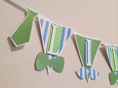 Little Man Themed Green and Blue Pennant Banner with Stripes, Polka dots, Mustaches, and Bow Ties; Mustache Bash -by LetsGetDecorative