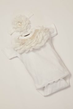 Baby Girl Onesie Set Short Sleeve White Onesie by jacqueline225