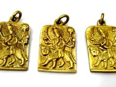 3 Pendants - Hindu Goddess Durga Maa and Om reversible Brass amulet pendant - CP114s