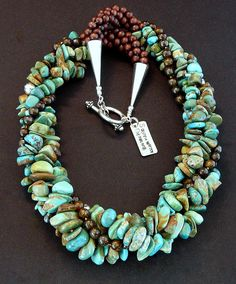 4-Strand Turquoise and Bronzite Twist Necklace with Benchmade Sterling Silver