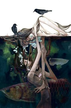 Previous Pinner:  Reminds me of the story of sirens mixed with water nymphs and narcissus.